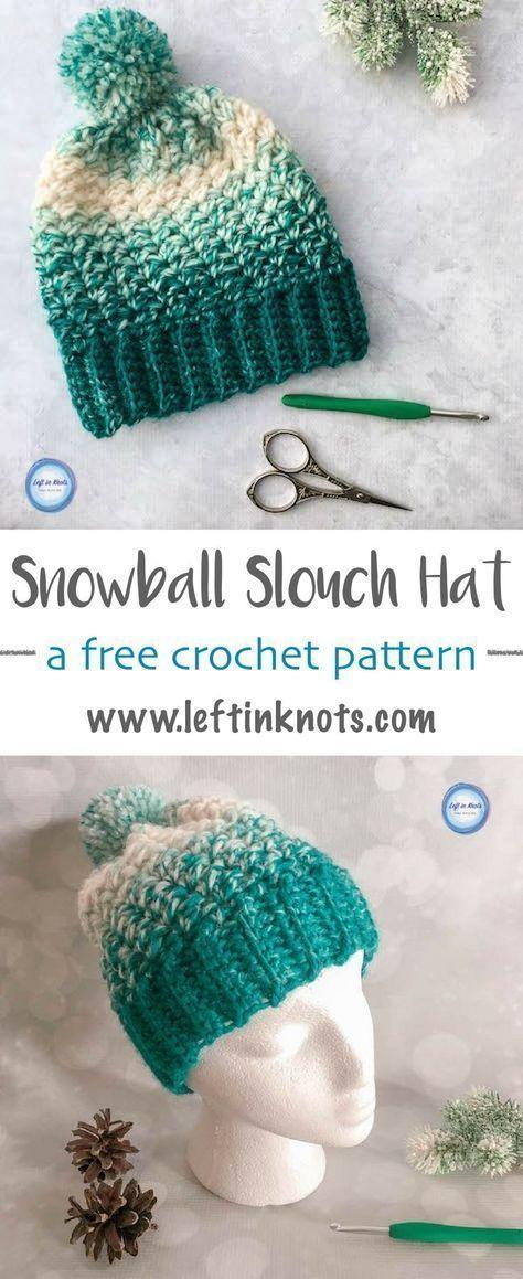Snowball Slouch Hat Crochet Pattern   Gorros