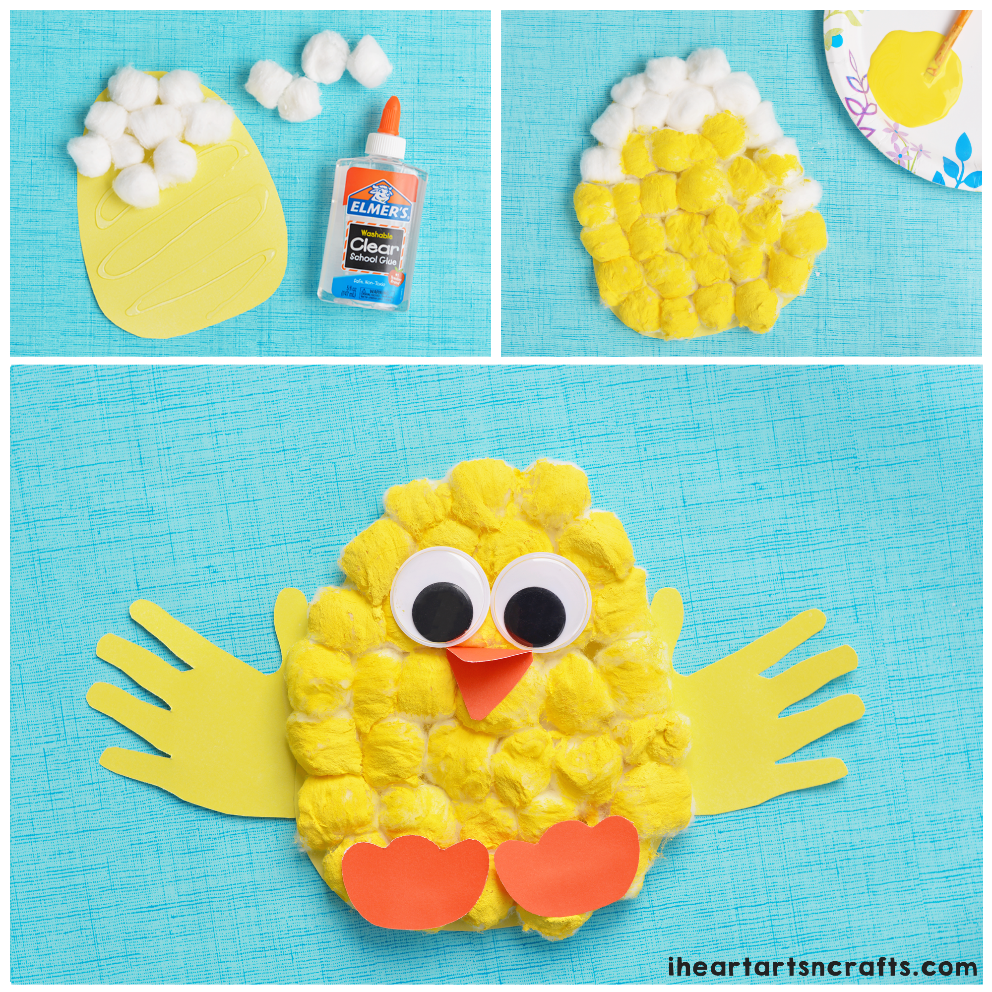 cotton ball handprint craft for kids easter craft and