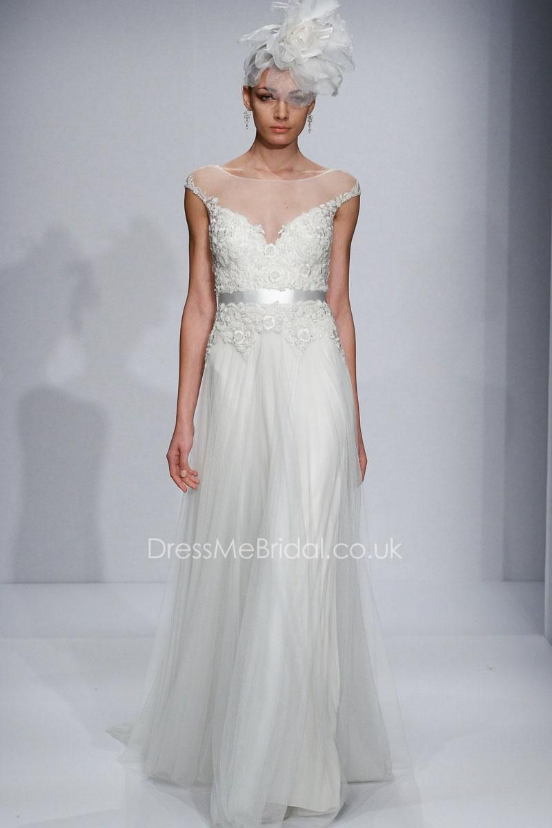 Aline cap sleeve illusion bateau neck wedding dress white wedding