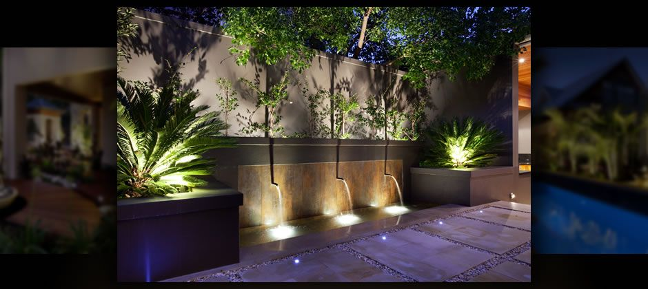 Water feature jardin Pinterest Jardines, Iluminación y Búsqueda - iluminacion jardin