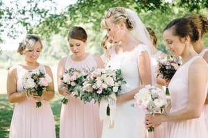 South Jersey Wedding Florist - A Garden Party florist - Inn at Fernbrook Farms - Michelle Lange Photography - white wedding flowers - blush wedding flowers - pineapple wedding - pineapple accents - floral chandelier - wreath