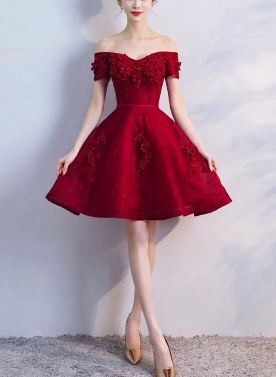 Off Shoulder Wine Red Short Beaded Homecoming Dres