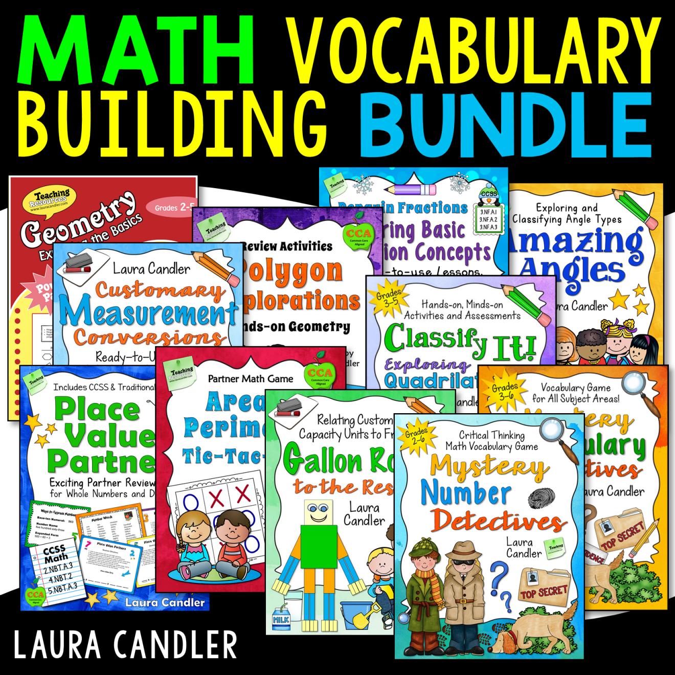 Math Vocabulary Activities Bundle Math vocabulary, Math