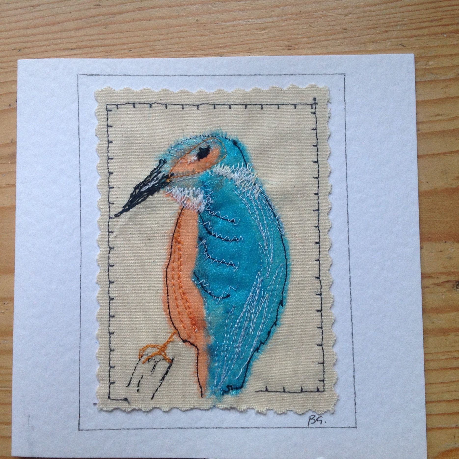Embroidered Kingfisher Bird Card Suitable For Birthday Retirement Thank You Appliqued And Embroidered Personalised With Bird Cards Kingfisher Bird Applique