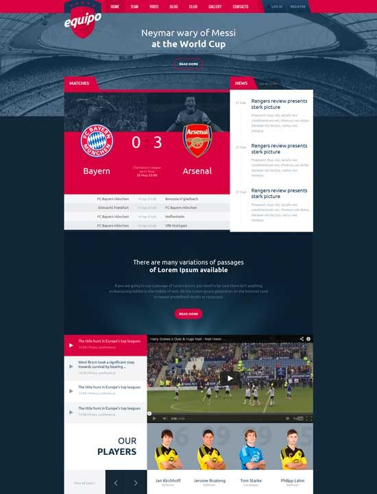 Equipo-football-sport-website-template web design ideas Free