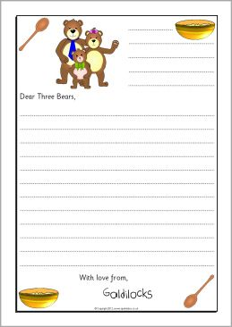 goldilocks sorry letter writing frames sb9019 sparklebox