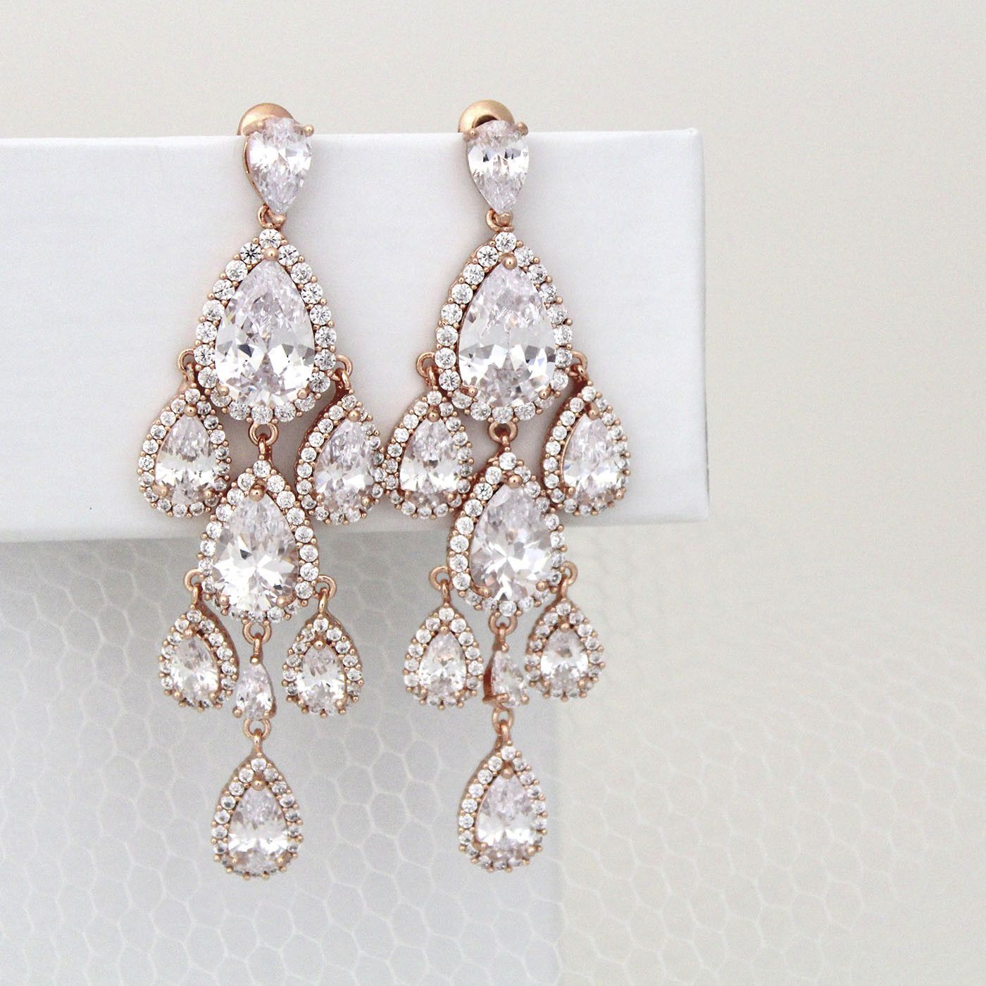 These Gorgeous Waterfall Teardrop Crystal Chandelier Bridal Earrings Are Simply Stunning Created With Luxury Rose Gold Plated Cubic Zirconia Components