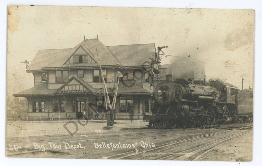 RPPC Big Four Railroad Train Depot Station BELLEFONTAINE