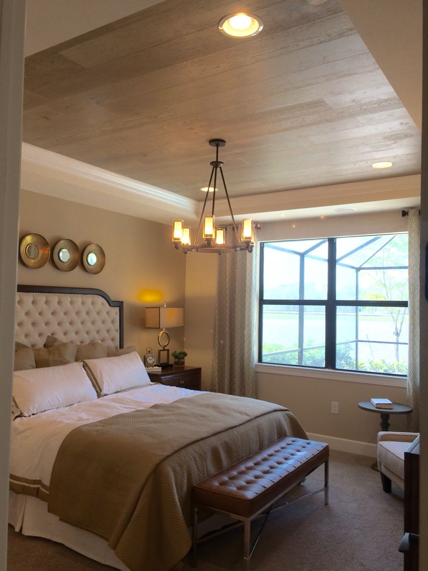 Check Out The Wood Paneling On The Trey Ceiling Nifty Master Bedroom Ceiling Ideas Master Bedroom Remodel Bedroom Ceiling