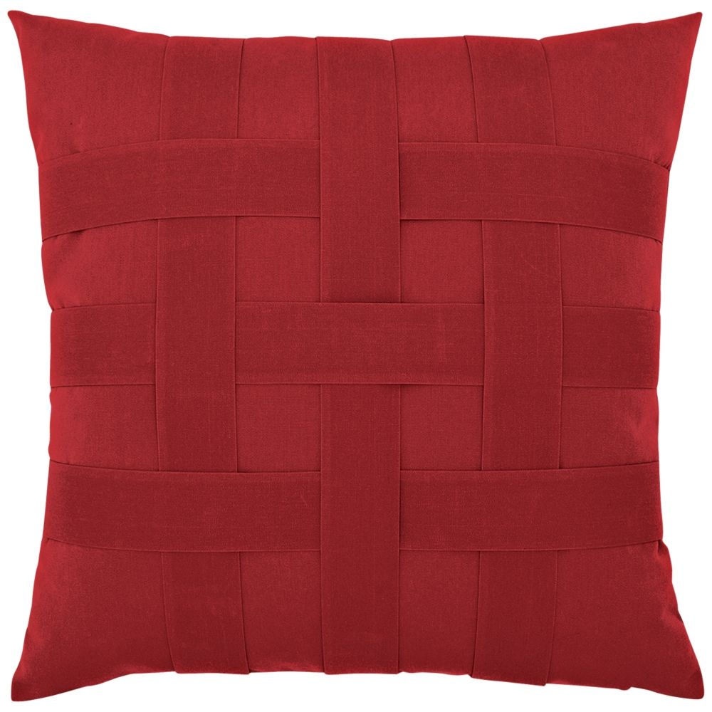 """Basketweave Rouge 20"""" Square Indoor-Outdoor Pillow - Style # 9X749"""