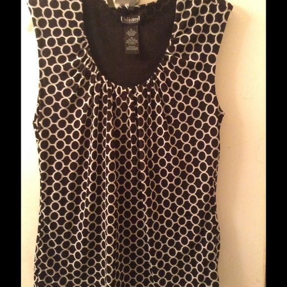 Black and white blouse. Great for summer. Excellent condition sleeveless blouse. Unlisted Tops Blouses