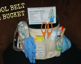 new dad baby shower gift  daddy's diaper duty tool belt or tool, Baby shower