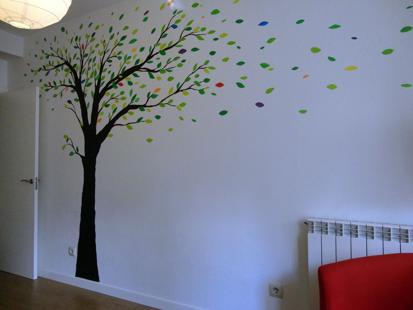 Mural arbol para dormitorio paredes pinterest mural for Pegatinas pared arbol infantil