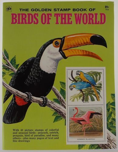 Golden Stamp Book Birds Of The World White 6th Printing 1976 Stickers Vintage