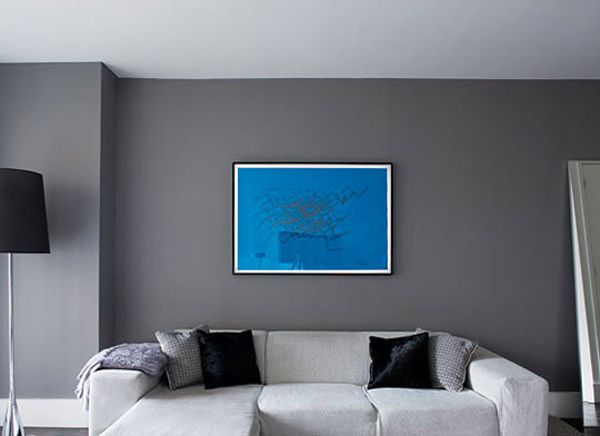 Decoration Ideas Minimalist Living Room Design With Grey Interior Wall Paint And Unique White Section Sofa Also Cool Blue Painting On The