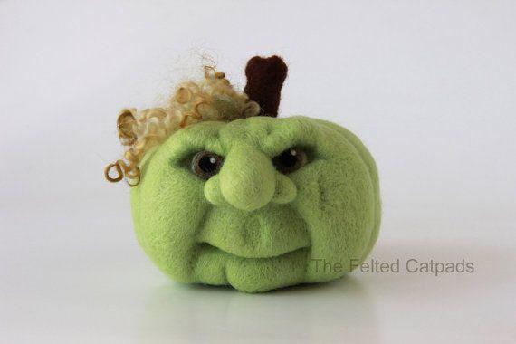 Jack O Lantern Needle Felt Pumpkin Face by TheFeltedCatpads