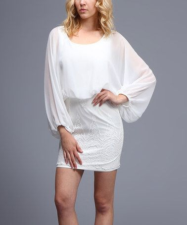 Loving this White Embroidered Blouson Dress on #zulily! #zulilyfinds