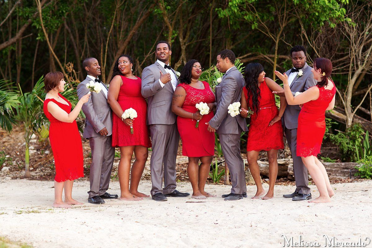 Red grey bridal party red lace bridesmaids dresses and grey red grey bridal party red lace bridesmaids dresses and grey groomsmen suits melissa ombrellifo Choice Image