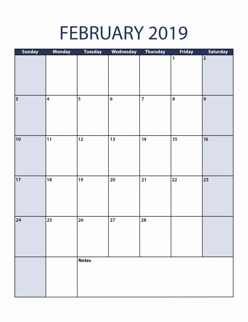 Blank February 2019 Calendar Pdf February February2019