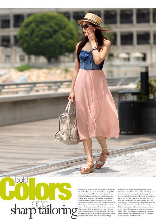 YESSTYLE: SOHO Central- Denim Panel Strapless Dress
