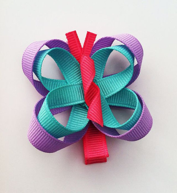 Sunflower Ribbon Sculpture Girls Hair Bow Clip Left /& Right Side Clips NEW