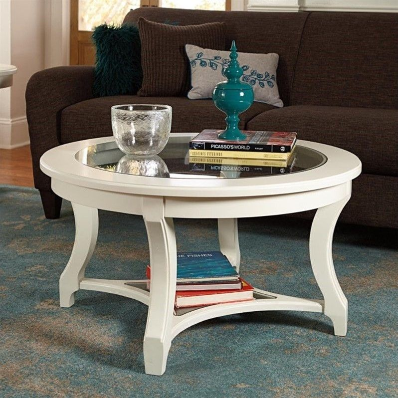 American Drew Lynn Haven Round Glass Coffee Table in White Round