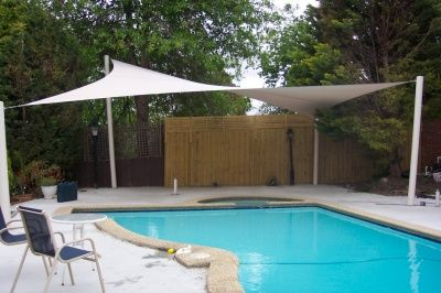 White Four Post Shade Sail over Swimming Pool - 1800 Shade U - Shade ...