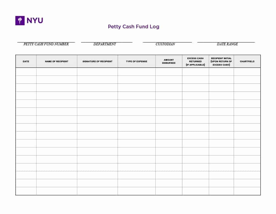 Petty Cash Log Template In 2020 Templates Report Template