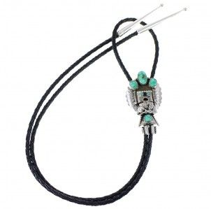 Native American Turquoise Genuine Sterling Silver Kachina Figure Bolo Tie RX78297 $169.99