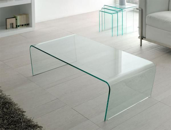 Contemporary Transparent Glass Curved Edge Coffee Table Modern