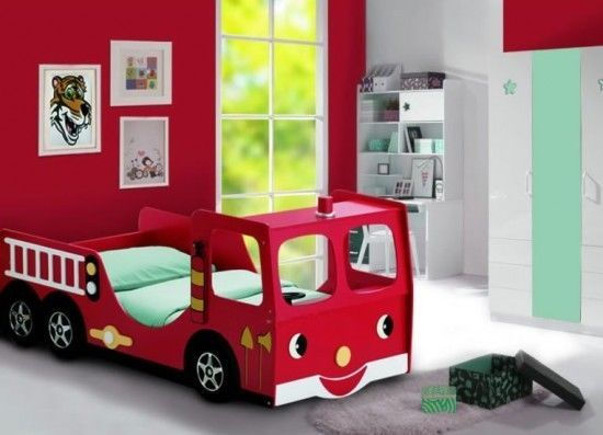 Red Kids Theme Fire Engine Racing Car Kids Children Junior Bed Size