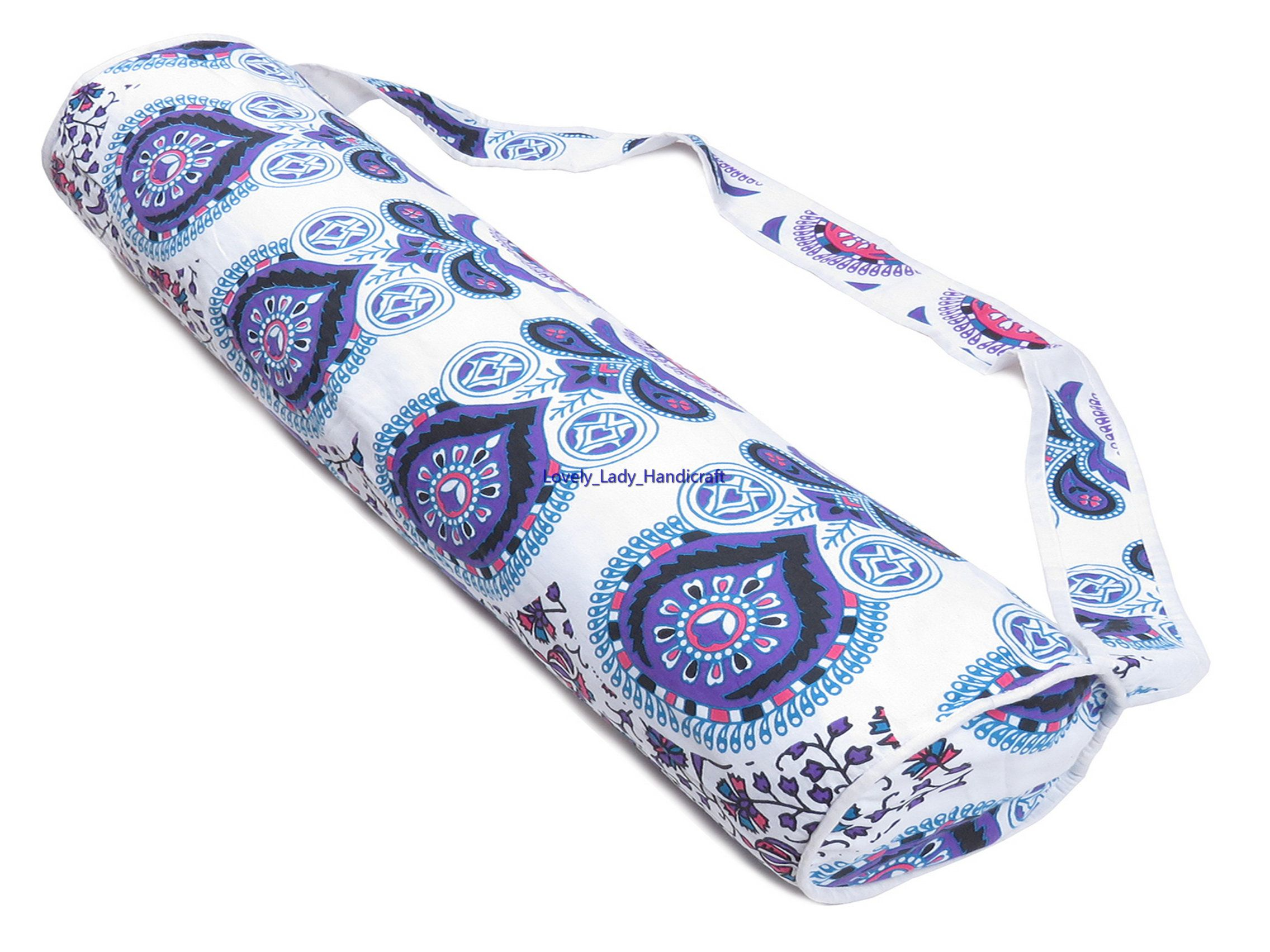 Indian Cotton Yoga Mat Bag Blue Carry Mandala Beach Bags Handmade Hippie Gym Mat Carrier Sports Bags With Shoulder Strap Llh1133 Yoga Mat Bag Blue Bags Yoga Bag