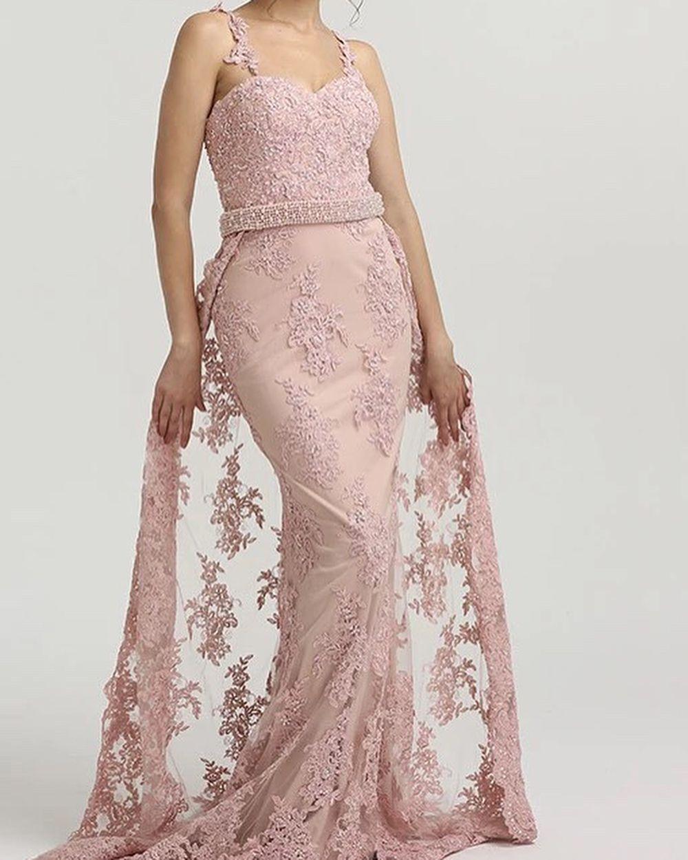 Rosa Abendkleider Lang Spitze  Abendmoden Abiballkleider