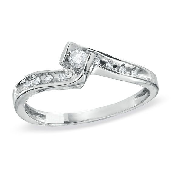 1 10 Ct T W Diamond Swirl Promise Ring In 10k White Gold Promise Rings White Gold Fashion Rings