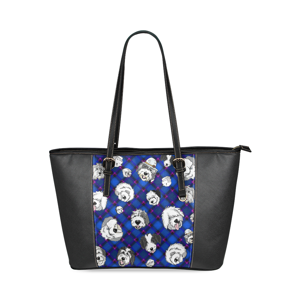 Blue plaid sheepies on black Leather Tote Bag/Small (Model 1640)