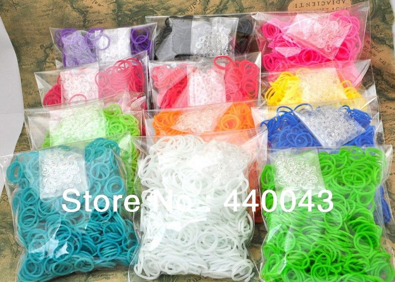 Free shipping 2 packslot hot sell rainbow loom rubber