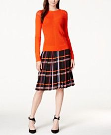 Vince Camuto Long-Sleeve Open-Knit Sweater & Pleated Plaid Skirt