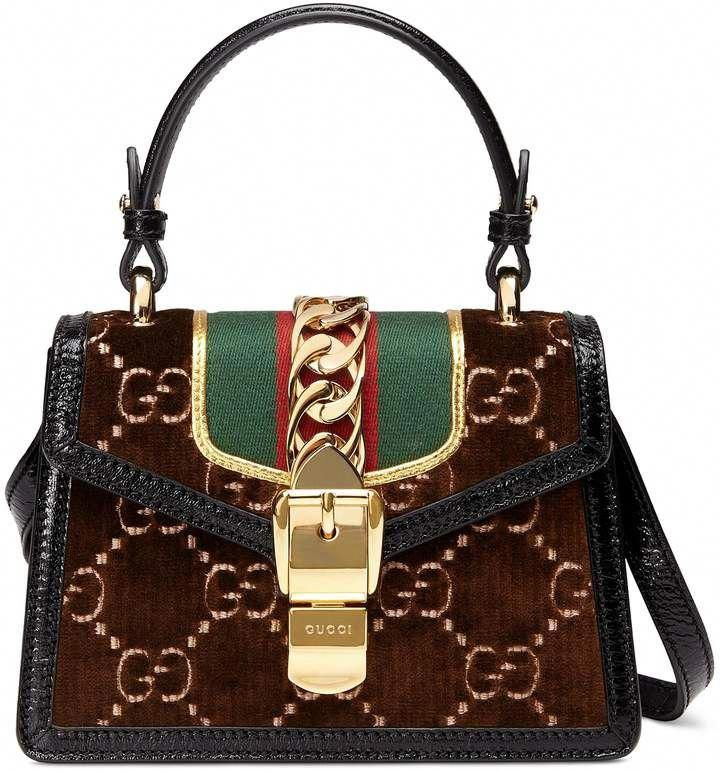 7df8d70ce5e9bd Gucci Mini Sylvie Velvet Top Handle Bag #Guccihandbags | Bags | Bags ...