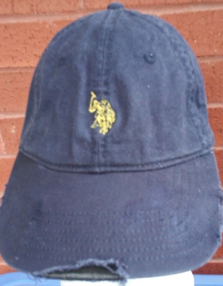 Ralph Lauren Distressed Destroyed Baseball Cap Hat US POLO Ass. Blue Yellow  pony  RalphLauren  baseballgolfersCapHat 3ac447e87da4