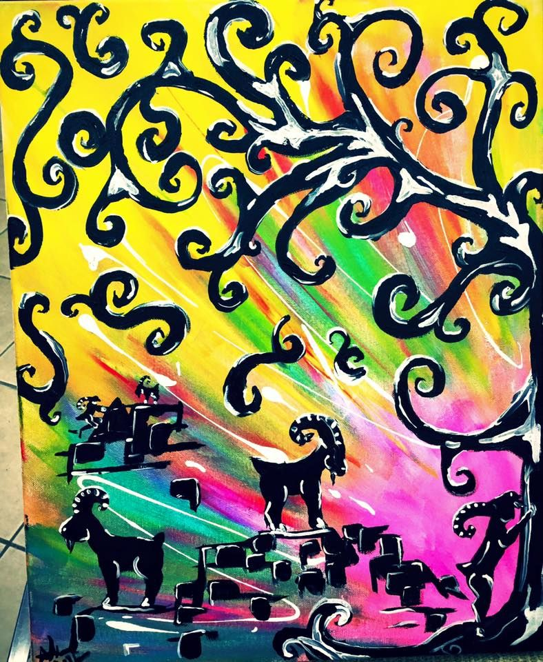 bright color painting, goat painting, wall art ideas, swirl tree ...