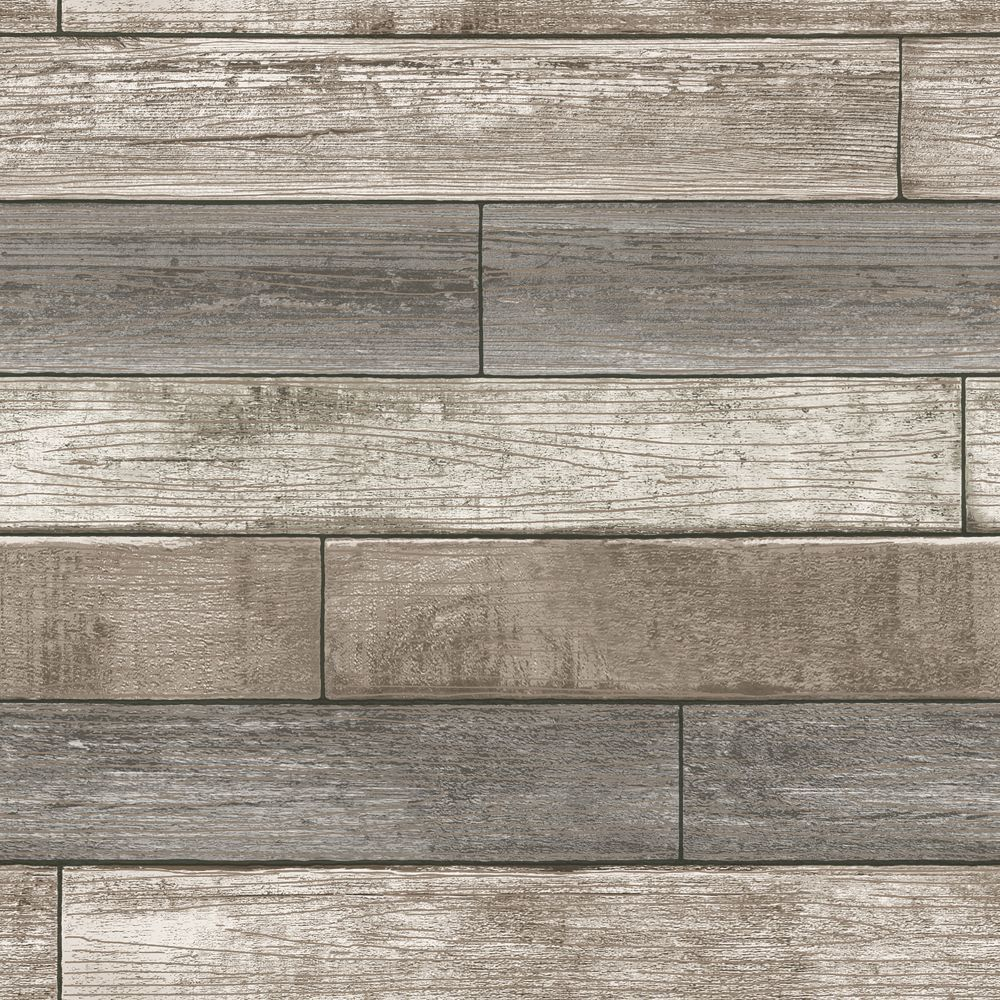 Nuwallpaper Reclaimed Wood Plank Natural Peel Stick Wallpaper The Home Depot Canada Wood Plank Wallpaper Peel And Stick Wood Wood Wallpaper
