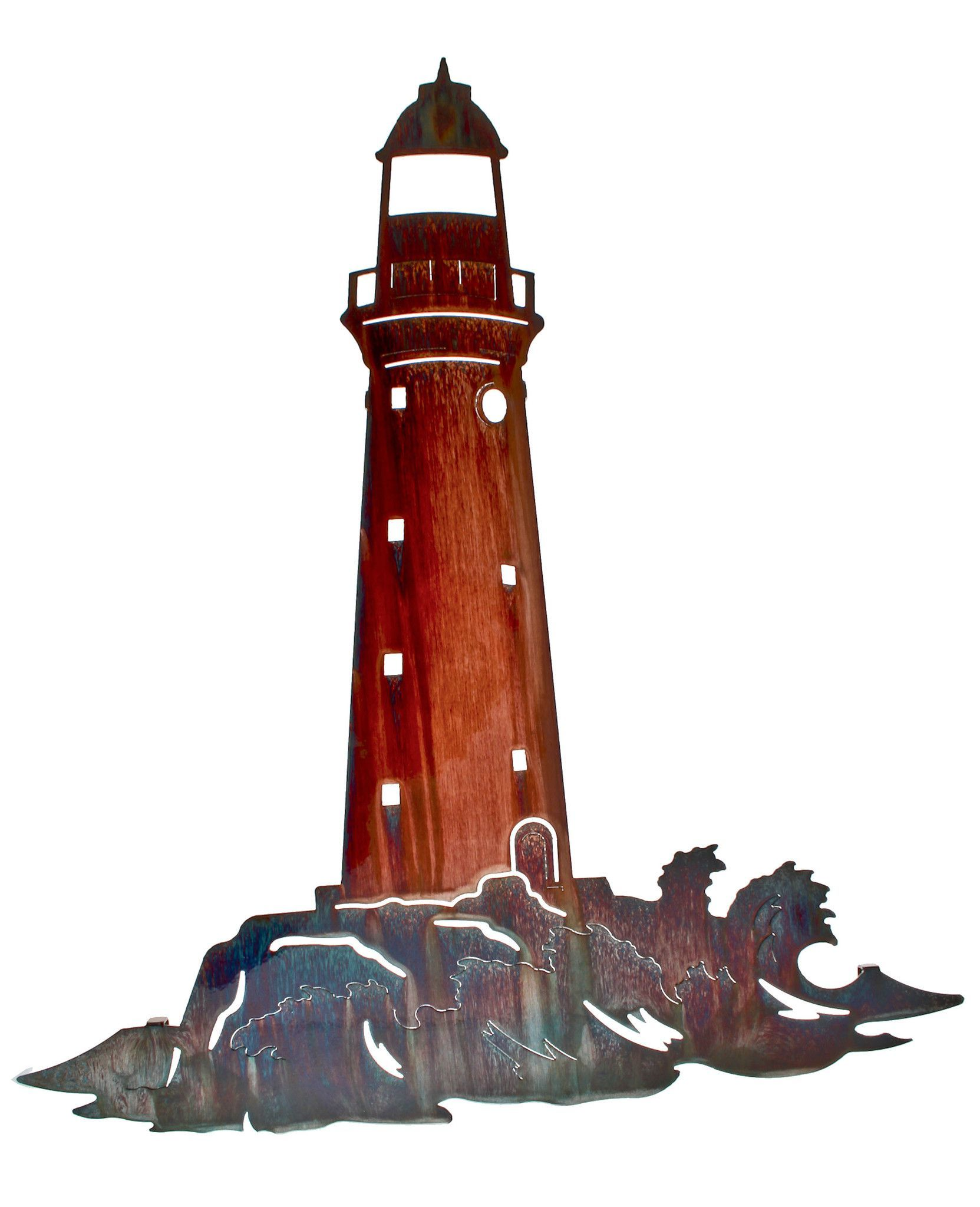 Lighthouse On The Rocks Laser Cut Metal Wall Art