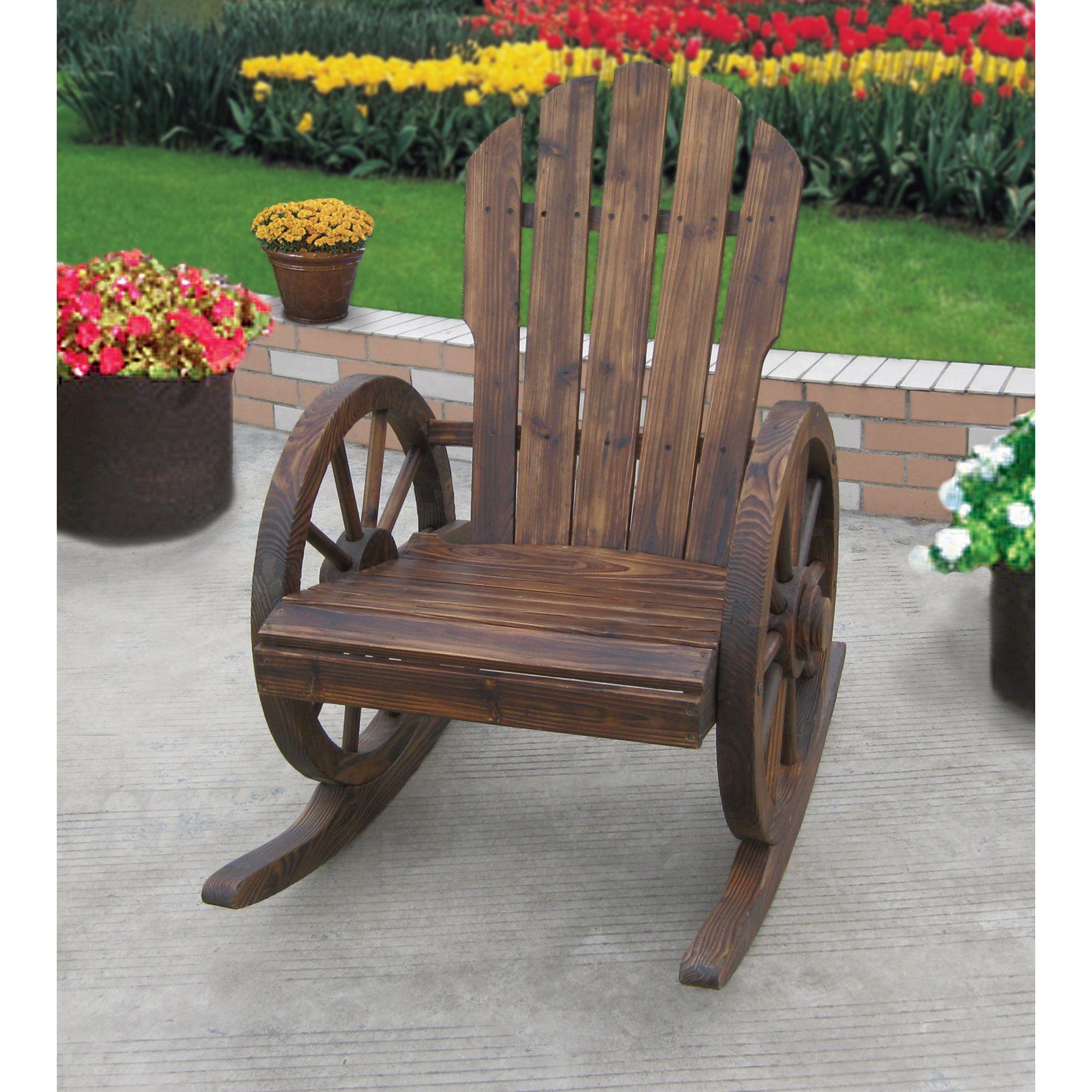 Wagon Wheel Rocker Chair Mecedoras De Madera Sillas Mecedoras