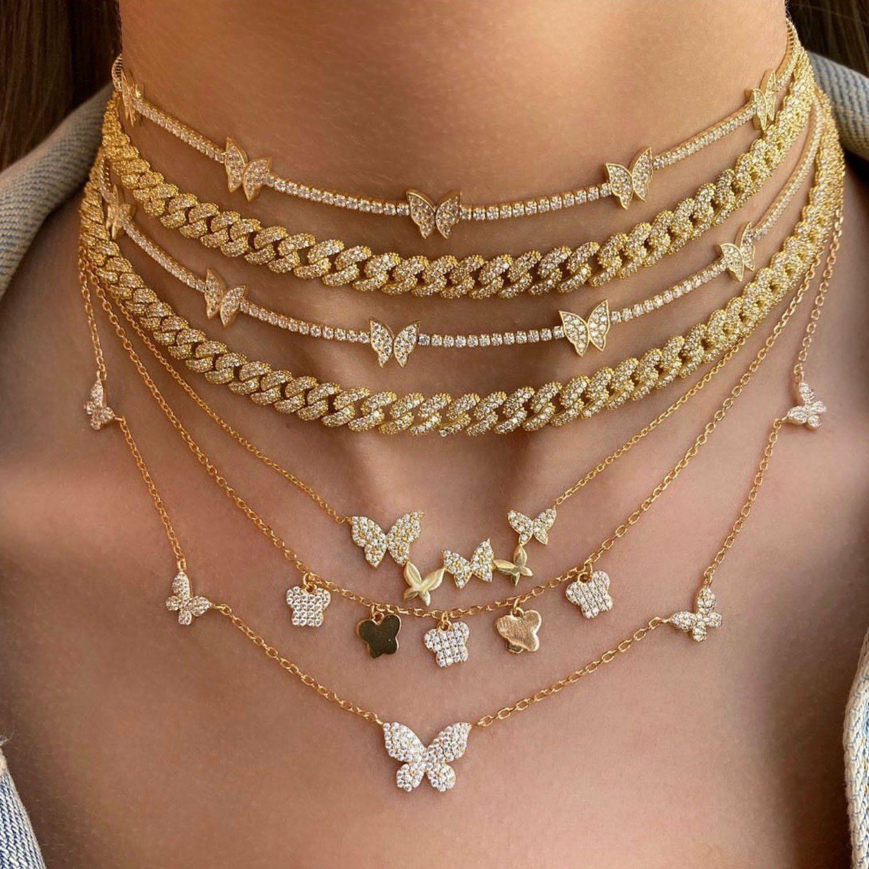 Photo of rose gold butterfly choker rose gold butterfly pendant necklace multi layered bu…