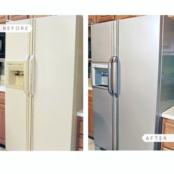 Liquid Stainless Steel Refrigerator Kit Stainless Steel Paint Budget Kitchen Makeover Kitchen Cabinets Makeover