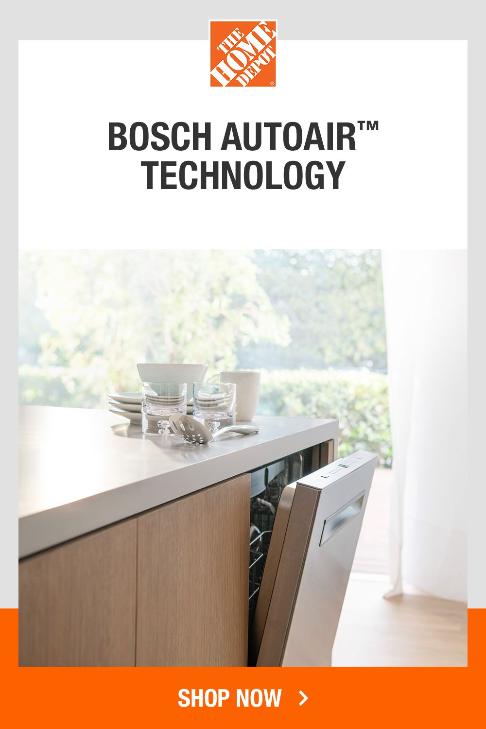 Bosch 500 Series 24 In Stainless Steel Top Control Tall Tub Pocket Handle Dishwasher With Stainless Steel Tub Autoair 44dba Shpm65z55n The Home Depot Retro Kitchen Diy Kitchen Steel Tub