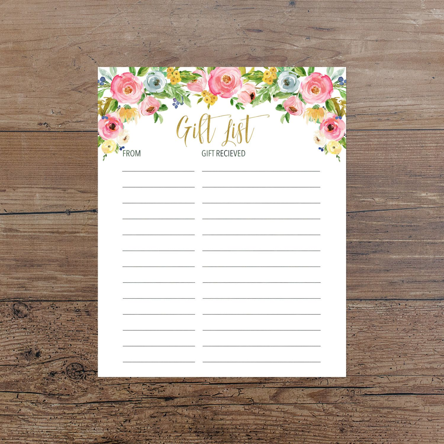 Floral Gift List Printable Pink Floral Gift List Baby Shower Gift ...