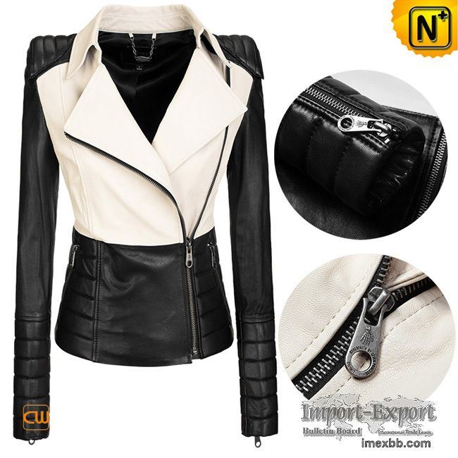 Black And White Leather Jacket For Women - Coat Nj