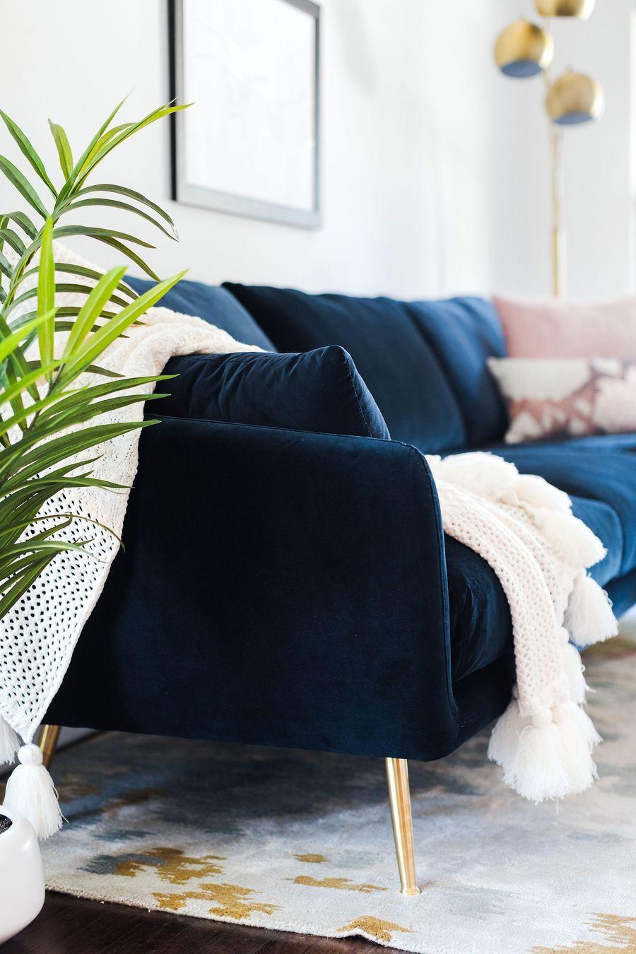 Harlow Sectional Sofa Blue Velvet Edloe Finch Furniture Co In 2020 Sectional Sofa Most Comfortable Couch Blue Velvet Sofa