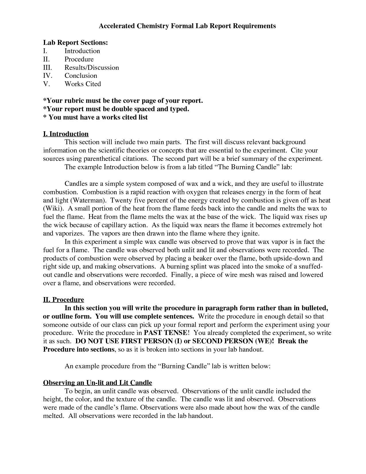 Chemistry Lab Report Format Amulette Resume Samples Throughout